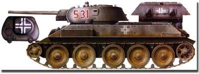 Panzerkampfwagen 747 (r). Т-34 раннего выпуска со сварной башней из состава немецкой 18-й танковой дивизии.