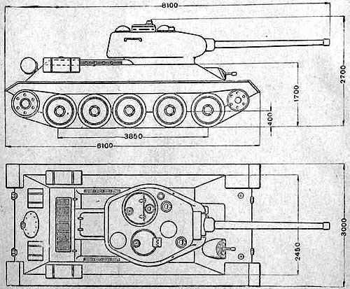 Габариты танка Т-34-85.